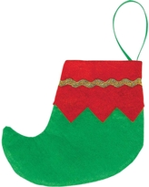 4.5 in. Felt Mini Elf Red and Green Christmas Stockings with Gold Trim (6-Count, 4-Pack), Green; Red