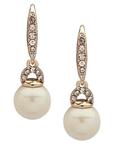 Lauren Ralph Lauren Pave & Simulated Pearl Small Drop Earrings