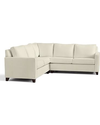 Cameron Square Arm Upholstered 3-Piece L-Shaped Corner Sectional, Polyester Wrapped Cushions, Premium Performance Basketweave Ivory