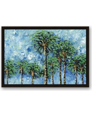 """Bay Isle Home 'Vibrant Coconut Palm Trees' Acrylic Painting Print on Canvas BAYI8415 Size: 16"""" H x 24"""" W Format: Framed"""
