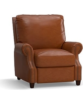 James Leather Recliner, Down Blend Wrapped Cushions, Legacy Dark Caramel