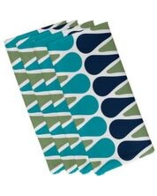 Simply Daisy, 19 x 19-inch, Multi Color Picks Geometric Print Napkin, Navy Blue (Set of 4)