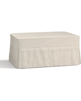 Charleston Slipcovered Ottoman, Polyester Wrapped Cushions, Twill Cream
