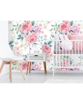 "House of Hampton Conklin Removable Nursery Pastel Peonies 10' L x 25"" W Peel and Stick Wallpaper Roll BI182773"