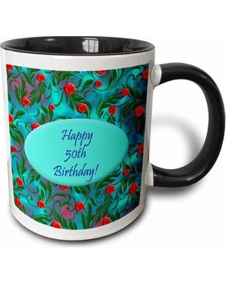 East Urban Home Wild 50th Birthday Design Coffee Mug W000872349 Color: Turquoise/Red