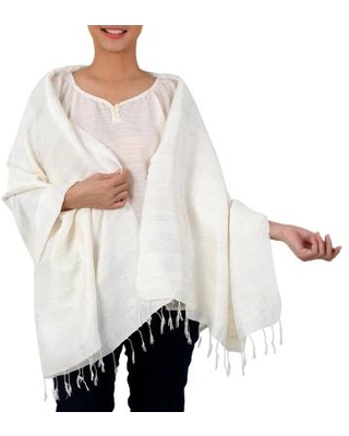 Handwoven Fringed Silk Shawl in Ivory from Thailand