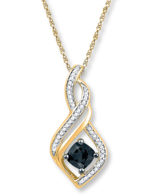 91bd6342a Sweet Savings on Onyx Necklace 1/8 ct tw Diamonds 10K Yellow Gold