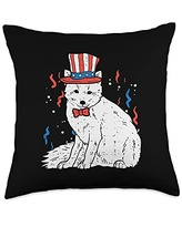 4th Of July Pillows Women Kids Fourth Animal Gifts Snow Fox White American Flag USA 4th Of July Fourth Animal Throw Pillow, 18x18, Multicolor