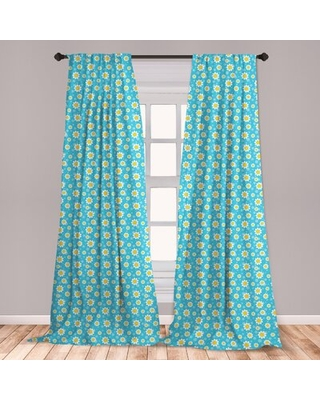 Ambesonne Yellow And Blue Curtains, Cartoon Chamomiles Blooms And Dots Fresh Spring Season Elements, Window Treatments 2 Panel Set For Living Room Bed