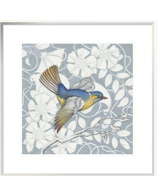 """East Urban Home 'Arts and Crafts Birds III Tone on Tone' Graphic Art Print on Canvas EUHE7931 Size: 18"""" H x 18"""" W Matte Color: White Format: White Framed Canvas"""