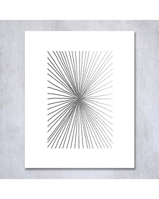 Digibuddha Burst Lines Silver Foil Art Print Abstract Hand Drawn Metallic Poster Geometric Modern Art Contemporary Wall Decor 8 Inches X 10 Inches B23