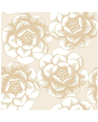 MANHATTAN COMFORT INC Indio, Gold Fanciful Floral Paper Strippable Wallpaper Roll (Covers 56.4 sq. ft.)
