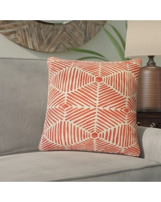 Tricia Geometric Cotton Throw Pillow Bloomsbury Market Color: Pink