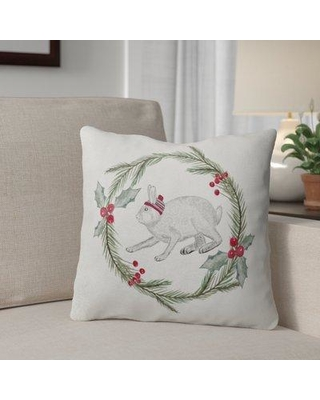 """The Holiday Aisle Bunny Christmas Throw Pillow THDA2134 Size: 18"""" x 18"""" Color: Green/ Red/ Grey/ Ivory"""