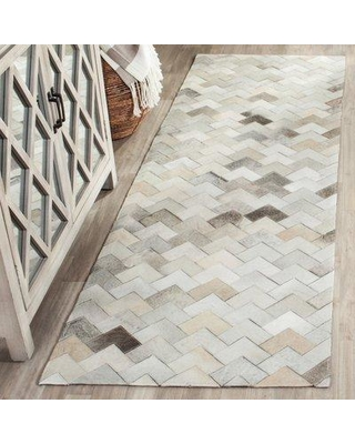 "Union Rustic Stasia Handmade Flatweave Natural Cowhide Rug VOST4146 Rug Size: Runner 2'3"" x 7'"