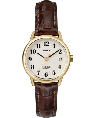 Women's Timex Easy Reader Watch with Leather Strap - Gold/Brown T20071JT