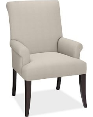 PB Comfort Roll Upholstered Dining Side Chair, Brushed Crossweave Natural