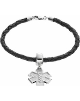 """""""Insignia Collection Sterling Silver and Leather Star of Life Charm Bracelet, Women's, Size: 7.5"""""""""""