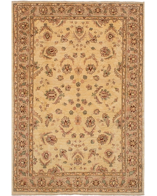 eCarpetGallery Hand-Knotted Chobi Finest Brown, Ivory Wool Rug (5'8 x 8'3) (Brown, Ivory Cream, Tan Rug (5' x 8'))