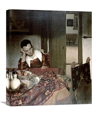 """Global Gallery 'Girl Asleep at a Table' by Johannes Vermeer Painting Print on Wrapped Canvas GCS-281415-22-142 / GCS-281415-30-142 Size: 30"""" H x 26.04"""" W x 1.5"""" D"""