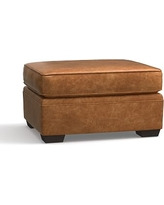 Pearce Leather Ottoman, Down Blend Wrapped Cushions, Leather Statesville Caramel