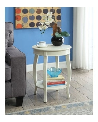 Aberta Side Table Wooden Round Cabriole Leg Table&Bottom Shelf in Red