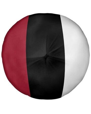 "East Urban Home Atlanta Football Stripes Floor Pillow - Round Tufted EBIJ8993 Size: 26"" x 26"" Color: Black Accent"