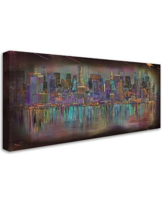 "Trademark Art Los Angeles by Ellicia Amando Painting Print on Wrapped Canvas MA0766-C Size: 10"" H x 19"" W x 2"" D"