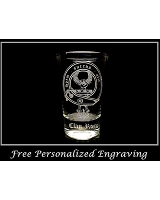 Ross Scottish Family Clan Crest Shot Glass 2oz - Free Personalized Engraving