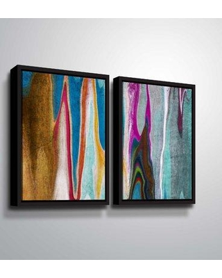 "Mercer41 'Ocean Movement' Rectangle Graphic Art Print Multi-Piece Image MCRF4614 Format: Black Framed Size: 32"" H x 48"" W x 2"" D"