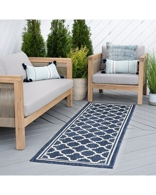 Alise Rugs Exo Transitional Geometric Indoor Outdoor Area Rug (2'7'' x 9'10'' - Navy)