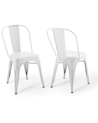 Promenade Collection EEI-3859-WHI Bistro Dining Side Chair Set of 2 in White