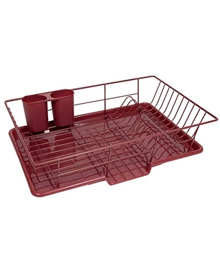 "Sweet Home Collection 3 Piece Dish Drainer Rack Set with Drying Board and Utensil Holder, 12"" x 19"" x 5"", Burgundy"