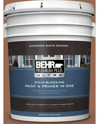 BEHR ULTRA 5 gal. #PMD-88 Sorrel Brown Satin Enamel Exterior Paint and Primer in One