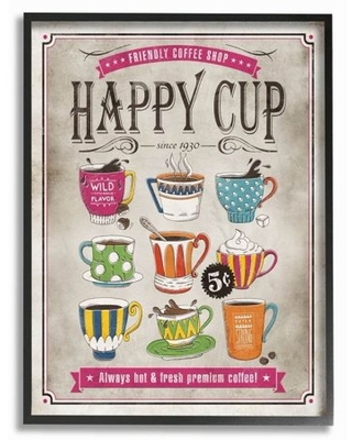 Stupell Industries Happy Cup Vintage Comic Book Design Framed Wall Art by Ester Kay