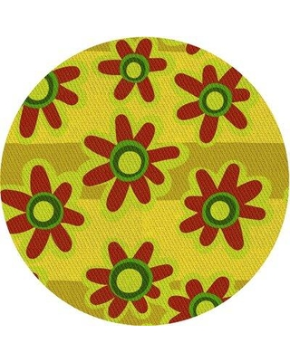East Urban Home Plemmons Floral Wool Yellow Area Rug W002567903 Rug Size: Round 5'