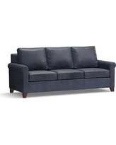 """Cameron Roll Arm Leather Sofa 90.5"""", Polyester Wrapped Cushions, Statesville Indigo Blue"""