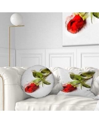 Designart 'Red Rose with Stem Drawing' Flower Throw Pillow