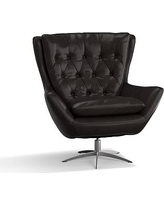 Wells Leather Swivel Armchair, Polyester Wrapped Cushions, Leather Vintage Midnight