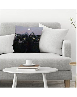 """East Urban Home Michael Creese Gothic Cats Throw Pillow EBIB9874 Size: 18"""" x 18"""""""