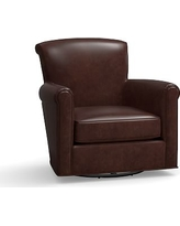 Irving Leather Swivel Glider, Polyester Wrapped Cushions, Leather Statesville Espresso