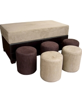 Shades Storage Ottoman with 5 Ottomans Brown - Ore International