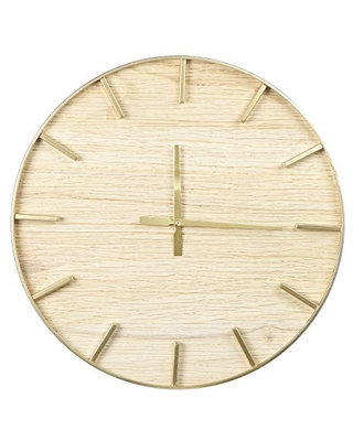 Creative Co-op Round Wood Wall, Natural Clock