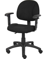 Deluxe Posture Chair with Adjustable Arms Black - Boss Office Products
