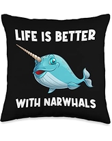 Best Narwhale & Canine Mammal Zoo Species Designs Funny Narwhal Gift For Men Women Sea Whale Fish Ocean Animal Throw Pillow, 16x16, Multicolor