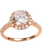 Sophie Miller 14k Rose Gold Over Silver Cubic Zirconia Halo Ring, Women's, Size: 7, White