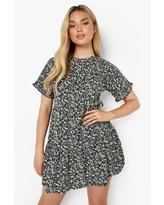 Womens Ditsy Floral Cotton Ruffle Sleeve Smock Dress - Black - 8