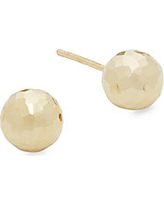 Hammered 14K Yellow Gold Stud Earrings