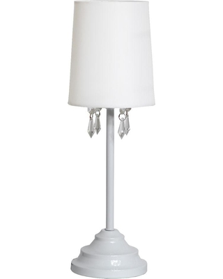Simple Designs 16.62 in. White Table Lamp with Fabric Shade and Hanging Acrylic Beads