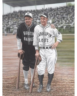 Babe Ruth and Lou Gehrig Artwork by Darryl Vlasak Painting Print on Wrapped Canvas
